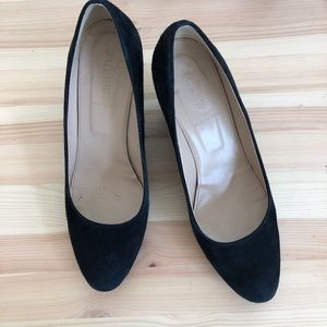 J. Crew Martina wedge, black suede, 8.5
